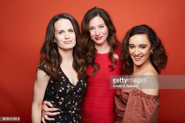 Elizabth Reaser Lynn Collins and Keisha CastleHughes of Discovery Communications 'Discovery Channel Manhunt Unabomber' pose for a portrait during the...