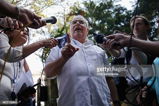 Elizardo Sanchez head of the banned but tolerated Cuban National Human Rights Commission talks with journalists after meeting with Assistant...
