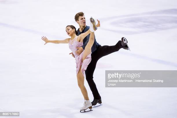 Elizaveta Khudaiberdieva and Nikita Nazarov of Russia compete in the Ice Dance Free Dance during day three of the ISU Junior Grand Prix of Figure...
