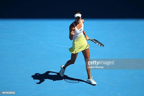 Elizaveta Kulichkova of Russia celebrates a point in her Junior Girls' Singles Final against Jana Fett of Croatia during day 13 of the 2014...