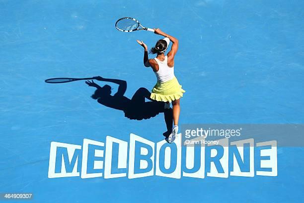 Elizaveta Kulichkova of Russia plays a forehand in her Junior Girls' Singles Final against Jana Fett of Croatia during day 13 of the 2014 Australian...