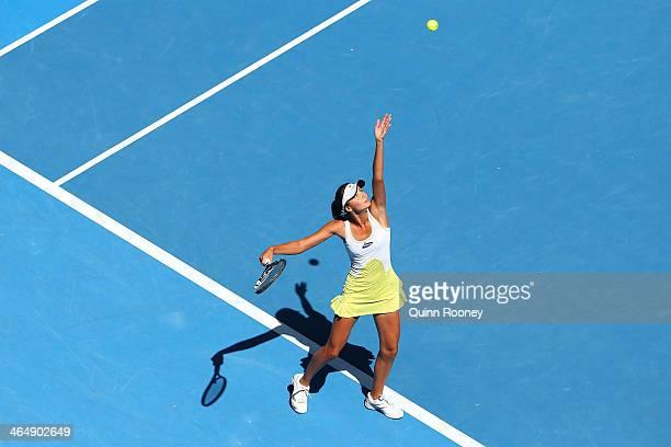 Elizaveta Kulichkova of Russia serves in her Junior Girls' Singles Final against Jana Fett of Croatia during day 13 of the 2014 Australian Open at...