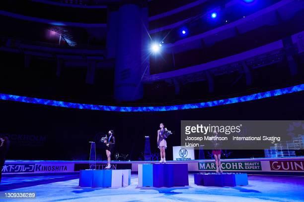 Elizaveta Tuktamysheva, Anna Shcherbakova and Alexandra Trusova of FSR pose in the Ladies medal ceremony during day three of the ISU World Figure...