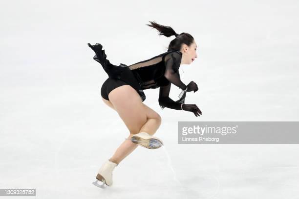Elizaveta Tuktamysheva of Figure Skating Federation of Russia falls during her performance in Ladies Free Skating during day three of the ISU World...