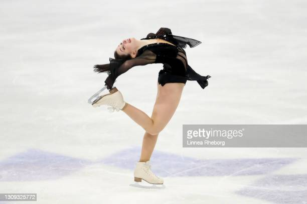 Elizaveta Tuktamysheva of Figure Skating Federation of Russia performs in Ladies Free Skating during day three of the ISU World Figure Skating...
