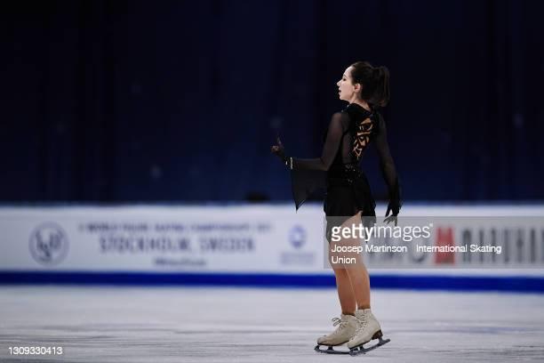 Elizaveta Tuktamysheva of FSR competes in the Ladies Free Skating during day three of the ISU World Figure Skating Championships at Ericsson Globe on...