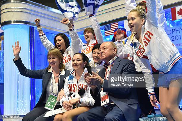 Elizaveta Tuktamysheva of Russia celebrates with team-mates in the ladies free skating during the day three of the ISU World Team Trophy at Yoyogi...