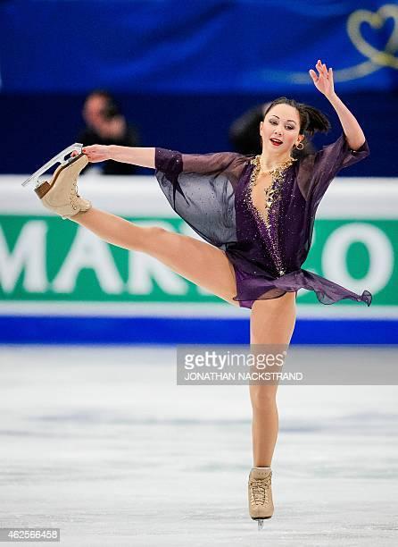 Elizaveta Tuktamysheva of Russia performs on ice during the ladies free skating routine of the ISU European Figure Skating Championships on January...