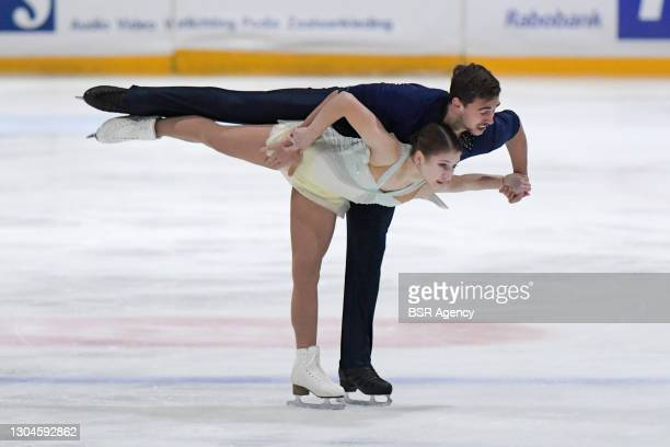 Elizavets Zhuk and Martin Bidar of Czech Republic compete in the figure skating pairs free skate program on Day 4 during the Challenge Cup 2021 match...