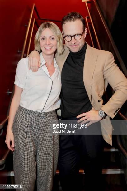 Elize du Toit and Rafe Spall pose backstage following the press night performance of Death Of England at The National Theatre on February 6 2020 in...