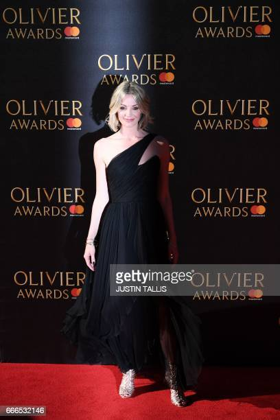 Elize du Toit poses on the red carpet upon arrival to attend the 2017 Laurence Olivier Awards in London on April 9 2017 / AFP PHOTO / JUSTIN TALLIS