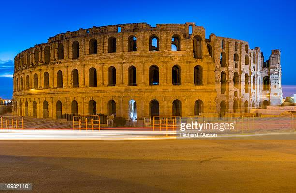 El-Jem colosseum at dusk