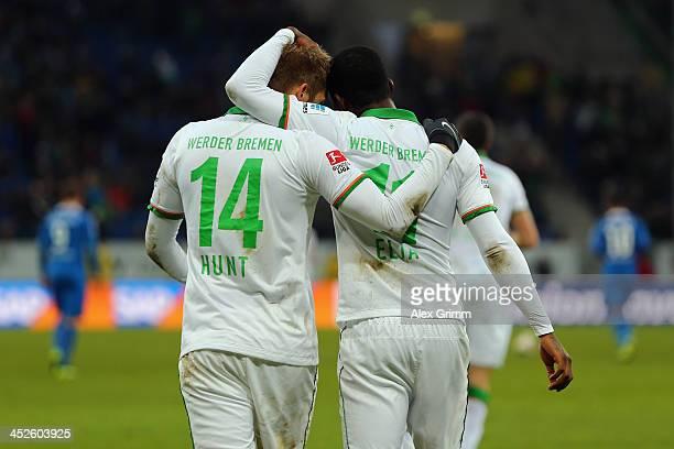 Eljero Elia of Bremen celebrates his team's second goal with team mate Aaron Hunt during the Bundesliga match between 1899 Hoffenheim and Werder...