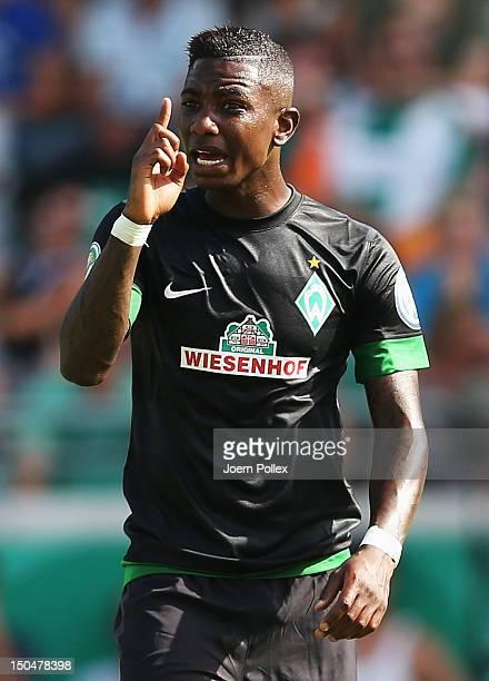 Eljero Elia of Bremen gestures during the DFB Cup first round match between Preussen Muenster and Werder Bremen at Preussenstadion on August 19 2012...
