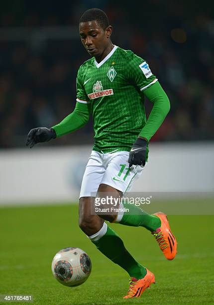 Eljero Elia of Bremen in action during the Bundesliga match between Werder Bremen and 1 FSV Mainz 05 at Weserstadion on November 24 2013 in Bremen...