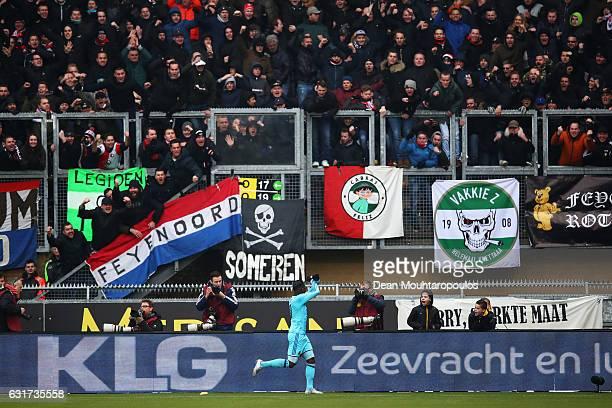 Eljero Elia of Feyenoord Rotterdam celebrates scoring his teams second goal of the game during the Dutch Eredivisie match between Roda JC and...