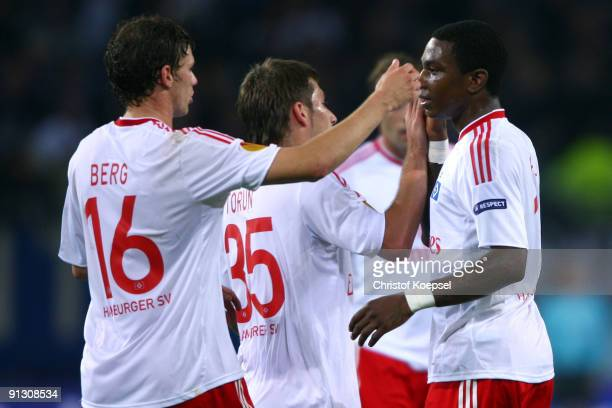 Eljero Elia of Hamburg celebrates the third goal with Marcus Berg of Hamburg during the Europa League first leg match between Hamburger SV and Hapoel...