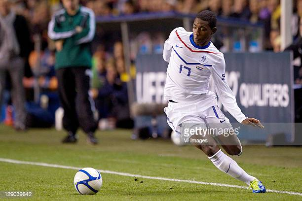 Eljero Elia of Holland during the EURO 2012 Qualifying match between Sweden and Netherlands at the Rasunda stadium on October 11, 2011 in Solna,...