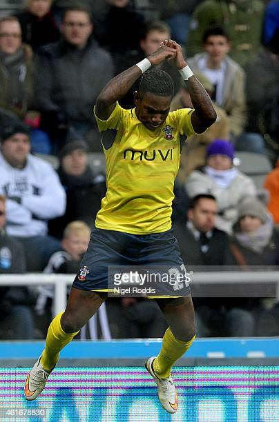 Eljero Elia of Southampton celebrates after scoring his team's second goal during the Barclays Premier League match between Newcastle United and...