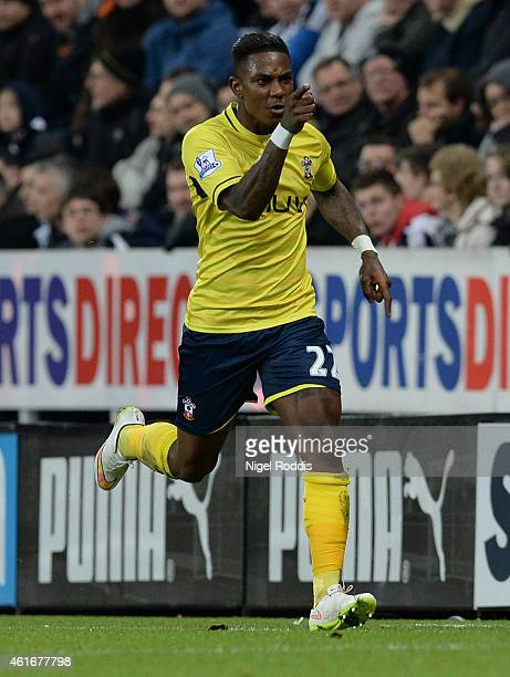 Eljero Elia of Southampton celebrates after scoring the opening goal during the Barclays Premier League match between Newcastle United and...