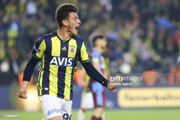 Eljif Elmas of Fenerbahce celebrates after his team mate scored a goal during Turkish Super Lig week 30 soccer match between Fenerbahce and...