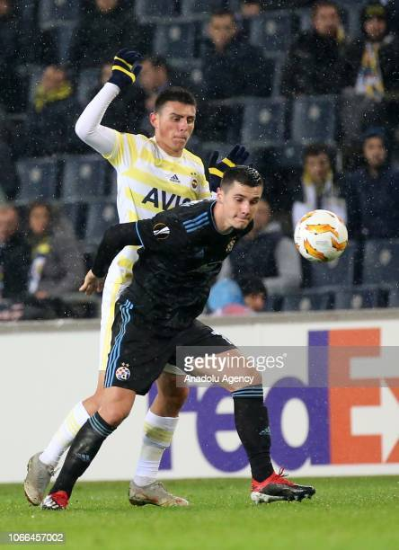 Eljif Elmas of Fenerbahce in action against Amer Gojak of Dinamo Zagreb during UEFA Europa League Group D Week 5 football match between Fenerbahce...