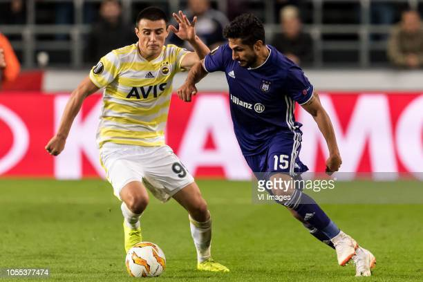 Eljif Elmas of Fenerbahce SK Kenny Saief of RSC Anderlecht during the UEFA Europa League group D match between RSC Anderlecht and Fenerbahce AS at...