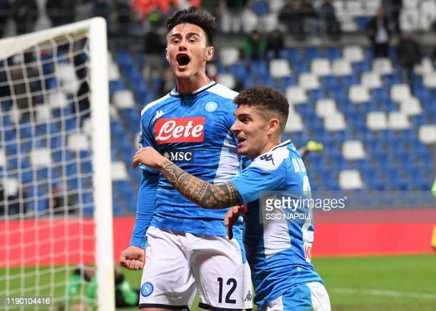 Eljif Elmas of Napoli celebrates after scoring the first goal during the Serie A match between US Sassuolo and SSC Napoli at Mapei Stadium - Città...