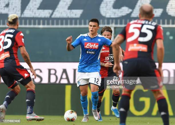 Eljif Elmas of Napoli during the Serie A match between Genoa CFC and SSC Napoli at Stadio Luigi Ferraris on July 8 2020 in Genoa Italy