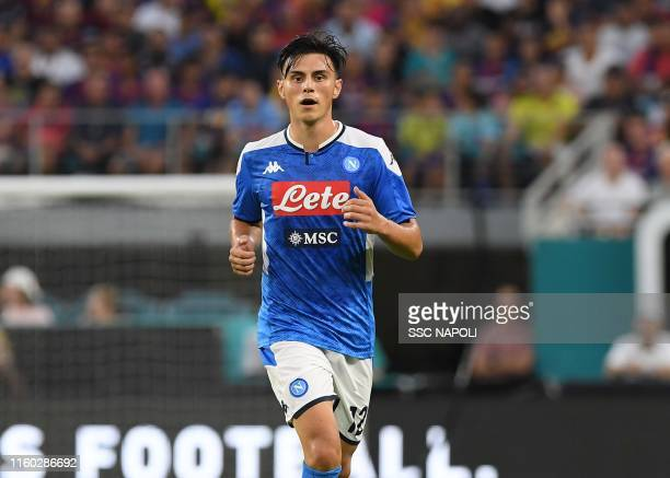 Eljif Elmas of Napoli in action during the preseason friendly match between FC Barcelona and SSC Napoli at Hard Rock Stadium on August 7 2019 in...