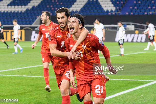 Eljif Elmas of North Macedonia celebrates after scoring his team's second goal with teammates during the FIFA World Cup 2022 Qatar qualifying match...