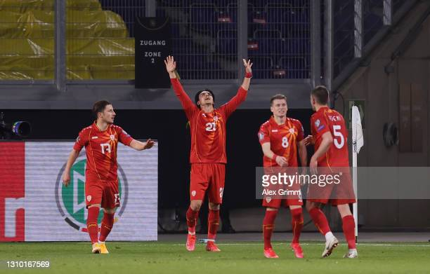 Eljif Elmas of North Macedonia celebrates after scoring their side's second goal during the FIFA World Cup 2022 Qatar qualifying match between...