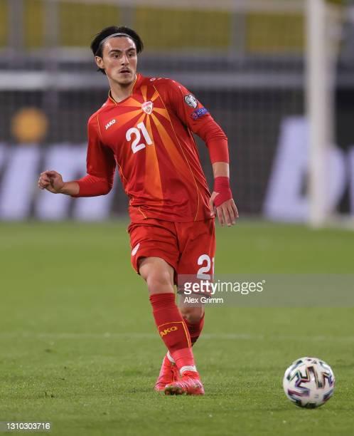 Eljif Elmas of North Macedonia controls the ball during the FIFA World Cup 2022 Qatar qualifying match between Germany and North Macedonia at...