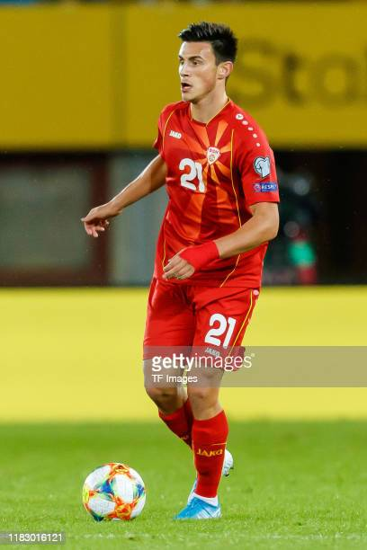 Eljif Elmas of North Macedonia controls the ball during the UEFA Euro 2020 Qualifier between Austria and North Macedonia on November 16, 2019 in...