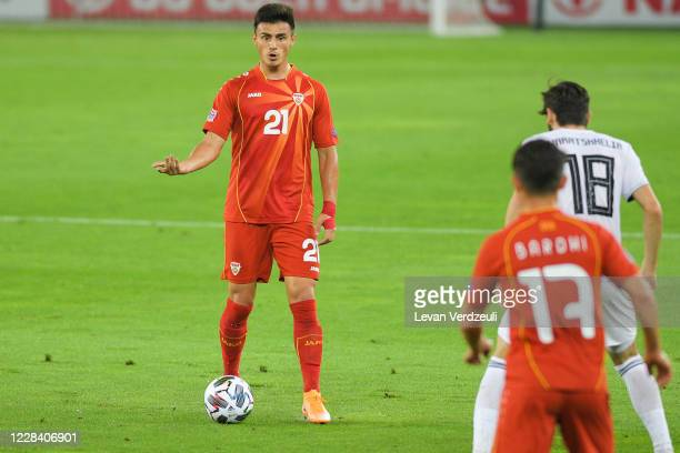 Eljif Elmas of North Macedonia reacts during the UEFA Nations League group stage match between Georgia and North Macedonia at Boris Paichadze Stadium...
