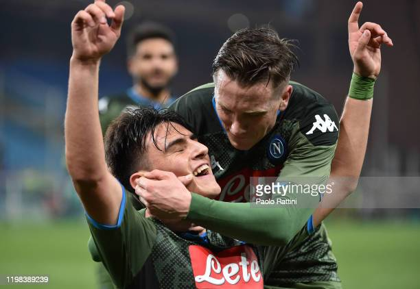Eljif Elmas of SSC Napoli celebrates after scoring 02 goal during the Serie A match between UC Sampdoria and SSC Napoli at Stadio Luigi Ferraris on...