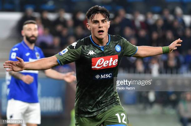 Eljif Elmas of SSC Napoli celebrates after scoring the 02 goal during the Serie A match between UC Sampdoria and SSC Napoli at Stadio Luigi Ferraris...