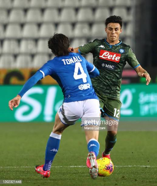 Eljif Elmas of SSC Napoli competes for the ball with Sandro Tonali of Brescia Calcio during the Serie A match between Brescia Calcio and SSC Napoli...