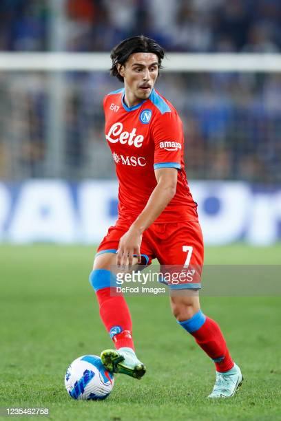 Eljif Elmas of SSC Napoli controls the ball during the Serie A match between UC Sampdoria and SSC Napoli at Stadio Luigi Ferraris on September 23,...