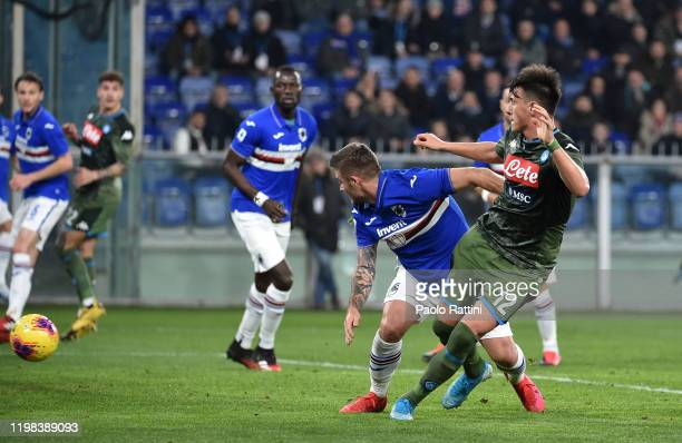 Eljif Elmas of SSC Napoli scoring 02 goal during the Serie A match between UC Sampdoria and SSC Napoli at Stadio Luigi Ferraris on February 3 2020 in...