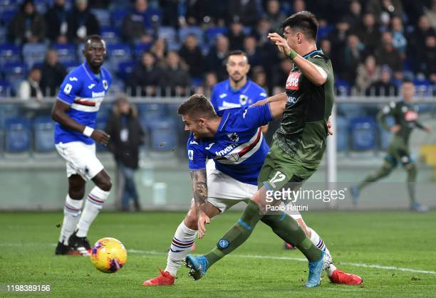Eljif Elmas of SSC Napoli scoring the 02 goal during the Serie A match between UC Sampdoria and SSC Napoli at Stadio Luigi Ferraris on February 3...