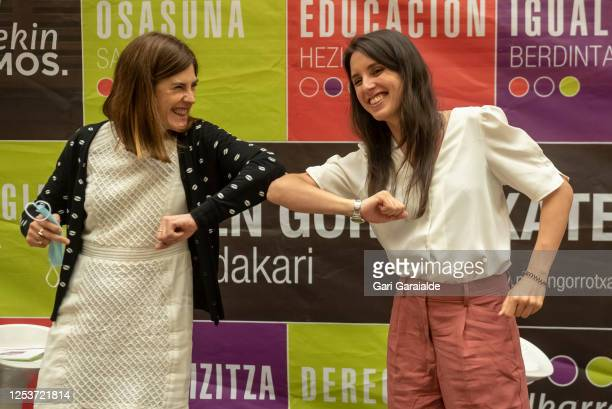 Elkarrekin-Podemos party candidate for president of the Basque autonomous community, Miren Gorrotxategi and Equality Minister, Irene Montero greeting...