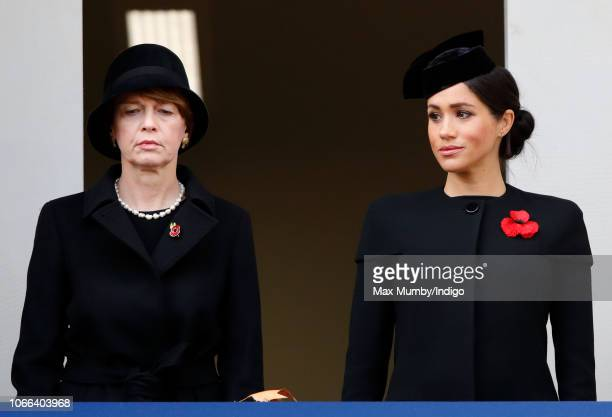 Elke Büdenbender and Meghan Duchess of Sussex attend the annual Remembrance Sunday Service at The Cenotaph on November 11 2018 in London England The...