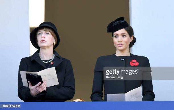 Elke Budenbender and Meghan Duchess of Sussex attend the annual Remembrance Sunday memorial at The Cenotaph on November 11 2018 in London England The...