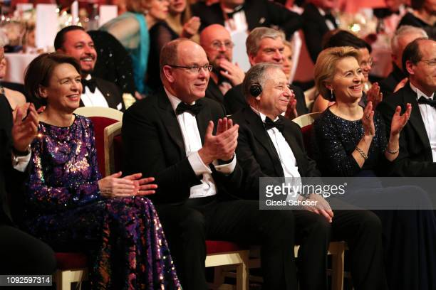 Elke Buedenbender Prince Albert II of Monaco Jean Todt German Minister of defense Dr Ursula von der Leyen and her husband Heiko von der Leyen during...