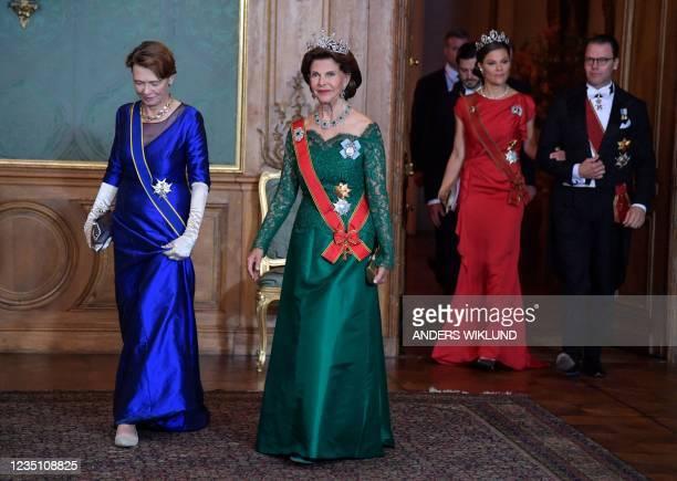 Elke Buedenbender , wife of German President Frank-Walter Steinmeier and Queen Silvia followed by Crown Princess Victoria and Prince Daniel arrive...