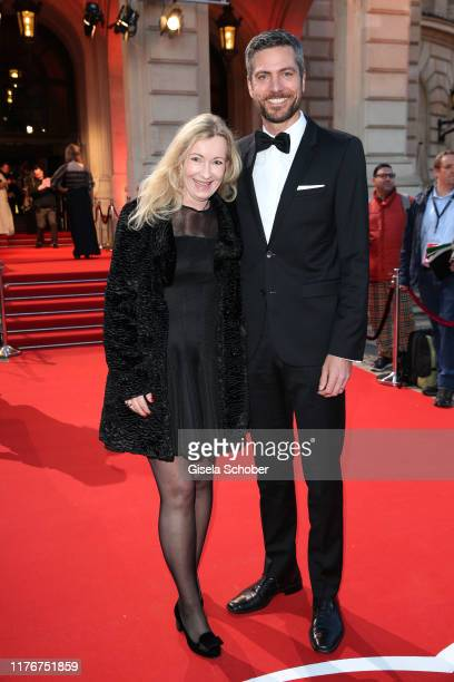 Elke Fuchs, Ingo Zamperoni during the Hessian Film and Cinema Award at Alte Oper on October 18, 2019 in Frankfurt am Main, Germany.