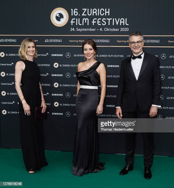 Elke Mayer Raluca Simu and Christian Jungen attend the green carpet of the 16th Zurich Film Festival at Kino Corso on September 24 2020 in Zurich...