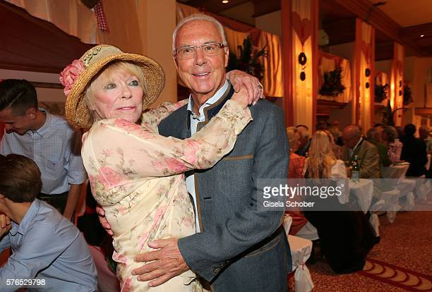 Elke Sommer and Franz Beckenbauer during a bavarian evening ahead of the Kaiser Cup 2016 on July 15 2016 in Bad Griesbach near Passau Germany