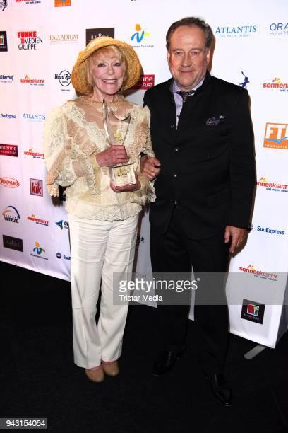 Elke Sommer and Harold Faltermeyer attend the 'Goldene Sonne 2018' Award by SonnenklarTV on April 7 2018 in Kalkar Germany
